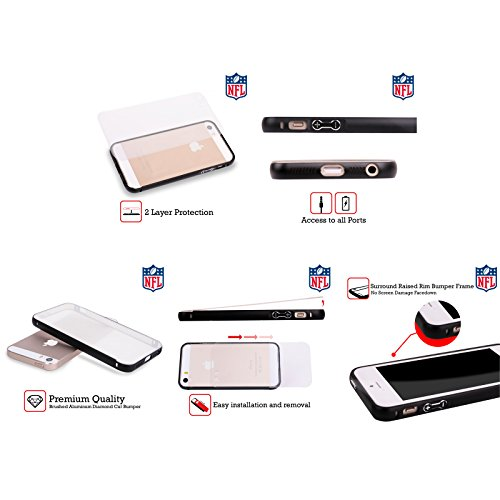 Ufficiale NFL LED 2017/18 Atlanta Falcons Nero Cover Contorno con Bumper in Alluminio per Apple iPhone 6 Plus / 6s Plus Righe