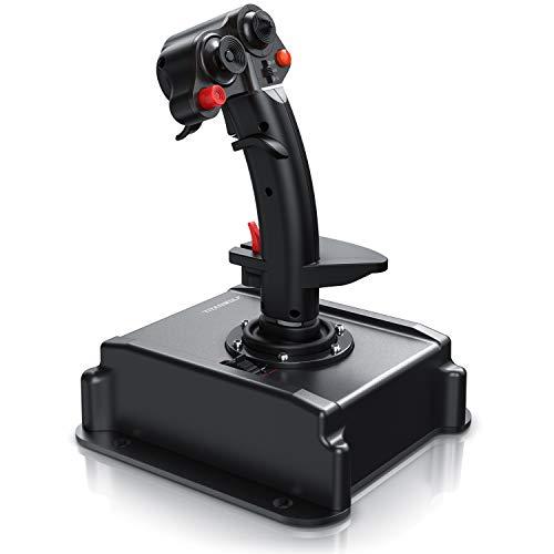Titanwolf - PC Joystick - Flight Stick - Vierweg Joystick - HOTAS Funktion - stufenloser Schubregler - Hat Switch Achtwege Stick - 4 Buttons D-Pad - 3 Modi - Gashebel - Ruder - 9 Knöpfe-23 Funktionen