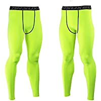ARSUXEO uomini Pro elastico pantaloni rapida marcia a secco sport Trainning Leggings Pantaloni di sport all'aria aperta-verde-S