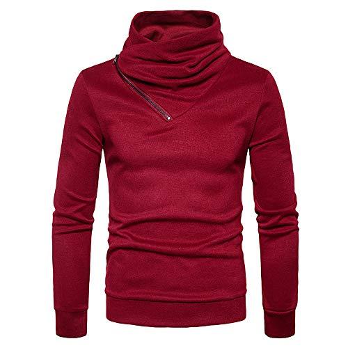 Xmiral Winter Pullover Herren Rollkragen Pullover V-Ausschnitt Sweatshirt (XL,Rot)