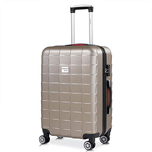 Monzana Hartschale Trolley Koffer | Größe L | TSA-Schloss | Zwillingsrollen | Champagner | Reisekoffer Rollkoffer
