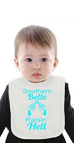 Southern Belle Raisin' Hell Slogan Organic Bib With Ties Medium