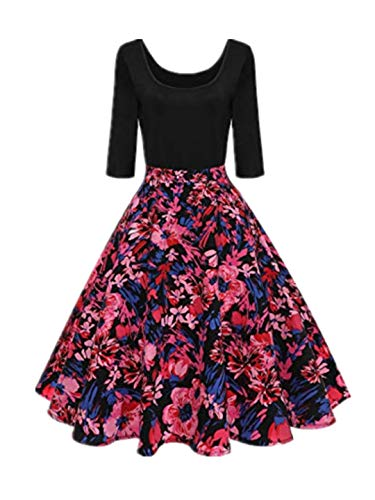 t 3/4 Ärmel A-Linie Kleid 1960er Jahre 50s Rockabilly mit Blumenrock U-Ausschnitt Partykleider Cocktailkleid Printkleid Knielang Karneval Abendkleid ()