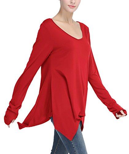 Urban GoCo Donna Tunica Top con Orlare Irregolare Foro per Il Pollice a Lunga Manica T-Shirt Rosso