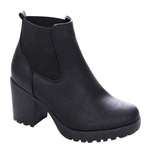 Damen Stiefeletten Ankle Boots Plateau Stiefel Schuhe B2 (40, Schwarz)