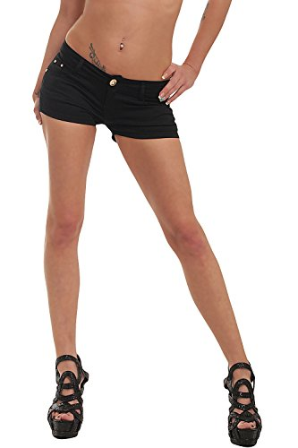 10021 Fashion4Young Damen Sexy Stretch-Denim Hotpants Short kurze Hose verfügbar in 5 Gr. 6 Farben (L = 40, Schwarz) (Schwarze Denim-shorts)