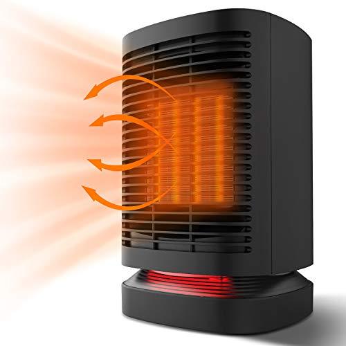 DOUHE Calefactor de Aire Caliente Portatil, Calentador Eléctrico Cerámico PTC Cerámico 950W/650W Bajo Consumo Termoventilador de Espacio Personal con Oscilación Automática, para Oficina, Baño, etc.