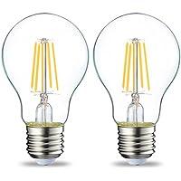 AmazonBasics Bombilla LED Esférica E27 con Filamento, 4W (equivalente a 40W), Blanco Cálido - 2 unidades