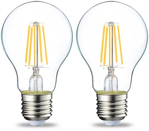 AmazonBasics E27 LED Lampe, 4W (ersetzt 40W), klar, 2er-Pack