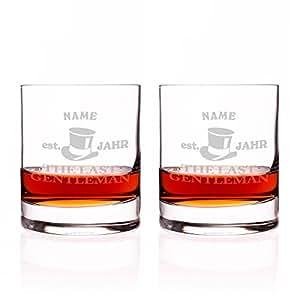 Privatglas verre à whisky en lot de 2–last gentleman avec gravure gratuite du nom de l'année
