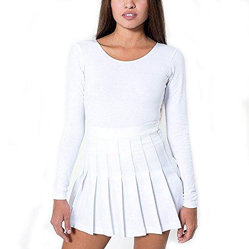 Isassy School Skirt Girls Box Pleat Uniform Pressure Pleated Skirt Slim Thin High Waist Pleated Tennis Skirts Mini Dress (White) (S(UK8))