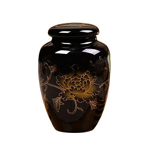 Für Asche Einäscherung Durch Beerdigung Für Menschliche Asche Erwachsene Und Haustier Urnen Keramik,Black ()