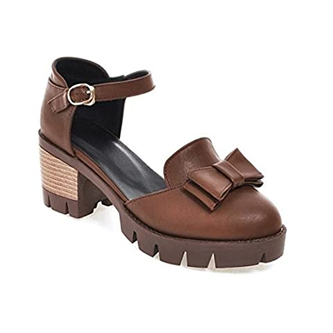 Women's Ankle Wrap Buckle Square Heel Casual Outdoor Sandal And Slippers Brown / US 8