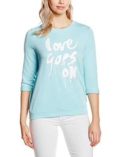 s.Oliver Denim Mit Frontprint, Sweat-Shirt Femme Multicolore (soft green placed print 60D0)