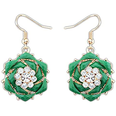Centro de verde de resina y flor de cristal pendientes de gota