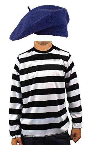 Kinder Kostüm Mime - Kinder-Kostüm, im Franzosen-Stil, Set, schwarz & weiß, langärmeliges gestreiftes Oberteil + farbiges Beret