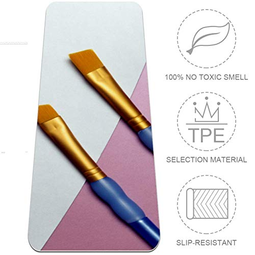 EZIOLY Malerpinsel, Yogamatte, 6 mm, umweltfreundlich, Gummi für Gesundheit und Fitness, rutschfeste Matte für alle Arten von Übungen, Yoga und Pilates (183 x 61 x 6 mm dick)