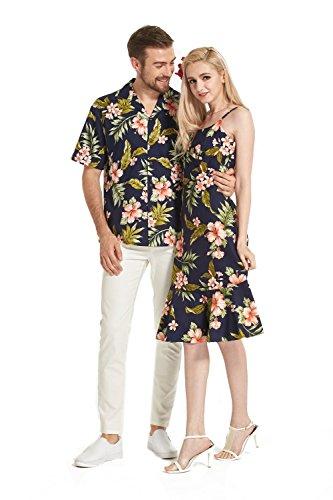 Hecho-en-Hawaii-Premium-Couple-Matching-Luau-Aloha-Camisa-de-vestir-Floral-marino-con-rosa-floral
