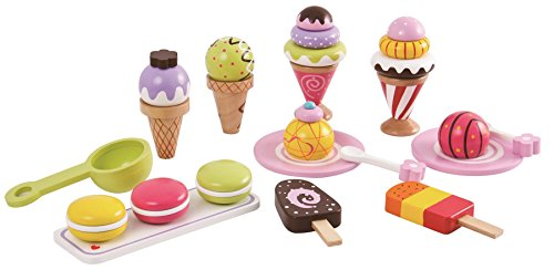 Lelin Wooden 25 Pieces Ice Cream Selection Pretend Play Set, Multicoloured