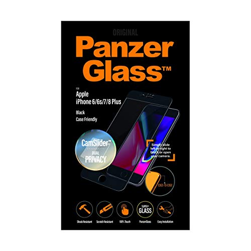 PanzerGlass 'Edge-to-Edge' für iPhone 6/6s/7/8 Plus Privacy, mit CamSlider, Black