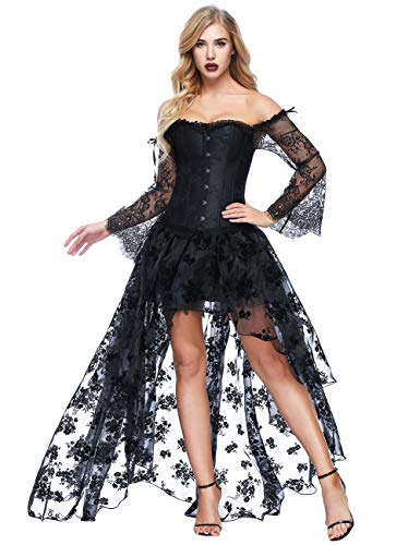 FeelinGirl Damen Korsagekleid Steampunk Gothic Kostüm Magic Mistress Hexenkostüm Teufelchen Halloween Cosplay Priatbraut, XXL(EU 44-46), Schwarz