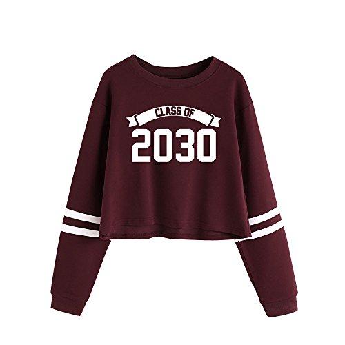 Bonjouree Sweatshirt Femme Pullover Imprimé à Lettre Sweat-shirt Ado Fille Pull Chic Rouge