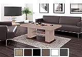 Design Couchtisch Tisch HN-777 Cappuccino - Nussbaum Hochglanz höhenverstellbar ausziehbar Esstisch