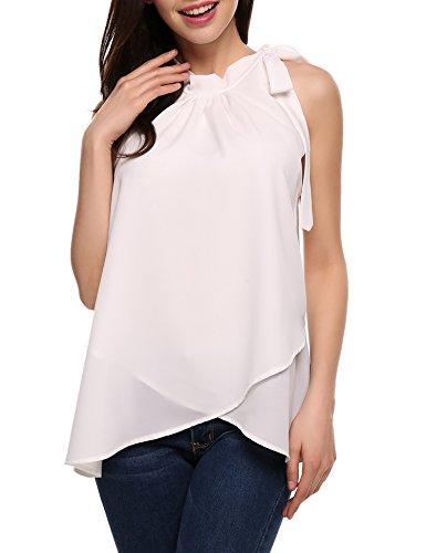 ACEVOG Damen Chiffon Bluse Oberteile Sommer Casual Shirt Tops Ärmellos  Strandtunika L-EU 40 D Weiß