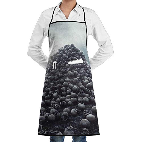 DFHome Schürze Mit Tasche Terrible Heap of Skulls Novelty 3D Print Water Resistant Polyester Kitchen Apron with Pockets Machine Washable Easy Care Twill Sewing Bib Apron (Heap Handys)