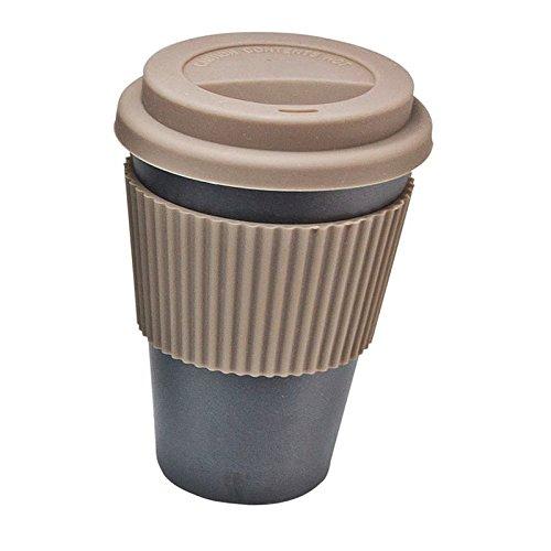 XXL Kaffeebecher Coffee to go Bambus mit Griffring 400ml Bamboo Cup Trinkbecher Becher (Schwarz)