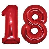 Palloncino Numero 18 Gigante in mylar altezza 100 cm. COLORE Rosso Palloncino in Mylar con valvola Adatto per il gonfiaggio ad aria e/o gas elio.