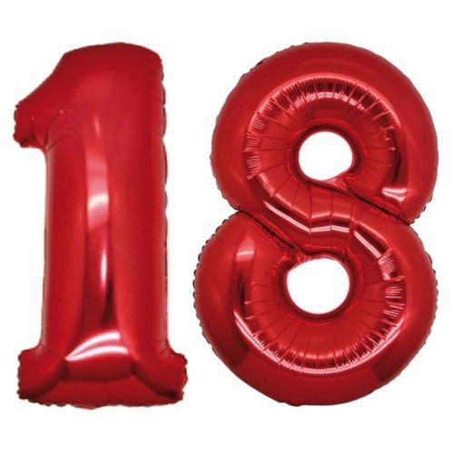 Globos número 18 foil helio para la decoración fiesta de cumpleaños altura 100cm (ROSSO)