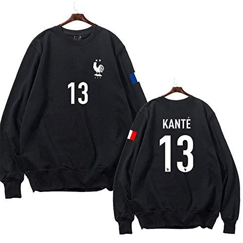 WARMHEAT France Football Pull de Football français à col Rond Noir,KANTE,3XS(105-120CM)