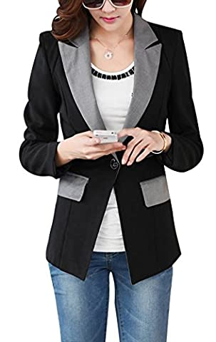 Aisuper Womens Long Sleeve Blazer Slim One Button Jacket Suit