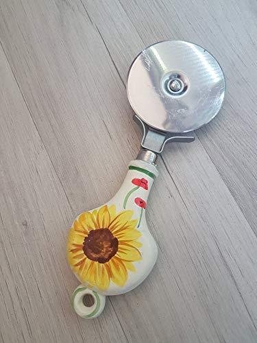 Pizzaschneider aus Keramik und Stahl, Linie mit Sonnenblumen und Mohnblumen