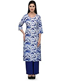 Patrorna Women's Blue Geometric Print A-Line Kurti And Royal Blue Pallazo Set (Size S-7XL)