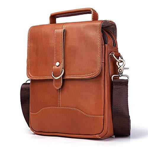 HRTX Rindsleder Messenger Bag , Vintage Männer Umhängetasche Small Crossbody Umhängetasche Clip Small OverCross Umhängetasche Messenger Business Bag Schlüsselanhänger (Color : A) -