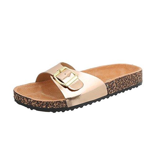 Ital-Design Pantoletten Damen-Schuhe Leichte Sandalen Sandaletten Gold Rosa, Gr 37, Ku-6-