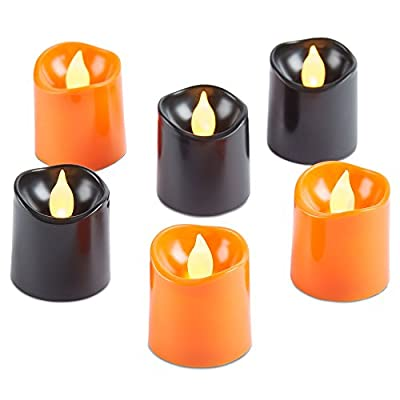 Andrew James Set of 6 Flickering Halloween LED Candles, Battery Operated, in Black and Orange - 2 Year Warranty by Andrew James