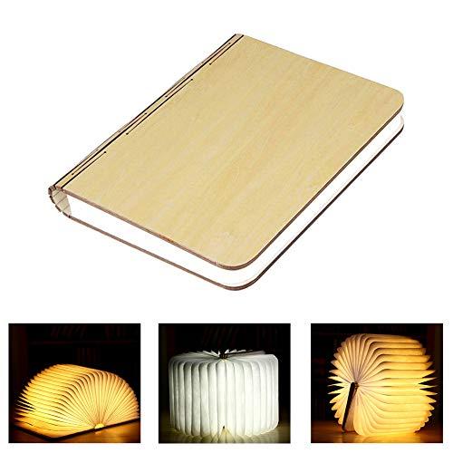 3 colori Pieghevole legno Lampade Libro, Design magnetico Mini Notturna, USB Ricaricabile Luci Booklight, LED Luce lettura per Arredamento/scrivania/Tavolo/Parete (10×7.9×2.5cm)