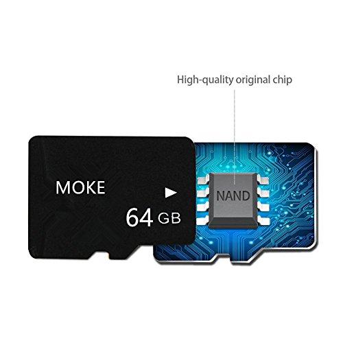 MOKE 4GB/8GB/16GB/32GB/64GB/128GB/256GB Mikro-Sd TF Micro SD-TF-Speicherkarte mit SD Adapter(64GB)