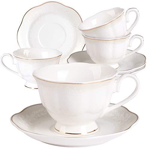 Floral Demitasse (Porzellan Teeservice weiß geprägt Floral 198 ml Kaffeetasse und Untertasse mit goldenem Rand 4er Set für Cappuccino)