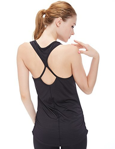 icyzone Damen Yoga Sport Top Lang - Fitness Gym Laufen Shirt Running Tanktop Vest (XL, Black)