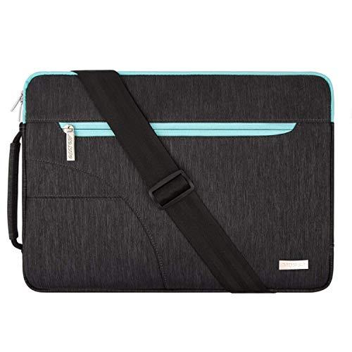 MOSISO Laptop Schultertasche Kompatibel mit 15 Zoll MacBook Pro mit Touch Bar A1990 A1707 2016-2019, 14 Zoll ThinkPad Tablet, Polyester Flapover Bote Aktentasche Sleeve Hülle, Schwarz & Heiß Blau