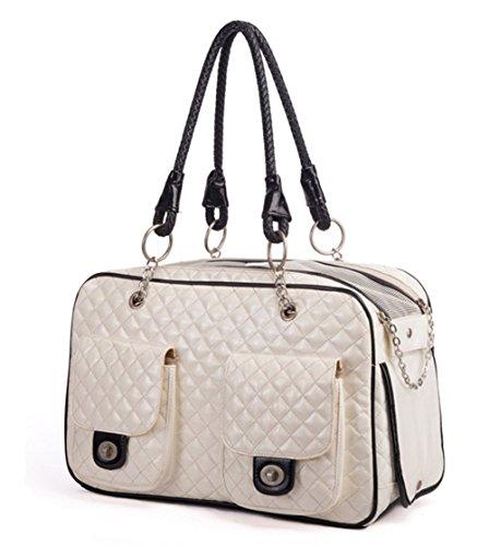 Gwood Haustier Transporttasche Reisebox PVC Tragetaschen Carrier mit Zwei Seitenscheiben für Tiere Hunde, Katzen und Nager,43 x27 x 19cm Weiß & Schwarz (Weiß )