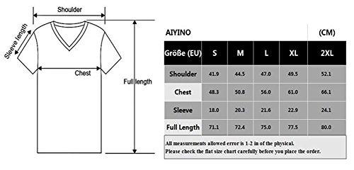 AIYINO Herren T-Shirt mit V-Ausschnitt Kontrast 100% Baumwolle Casual Cardigan Armee-Grün