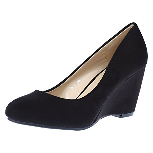 ByPublicDemand Olivia Womens Mid Wedge Heel Slip On Classic Court Shoes Black Faux Suede Size 7 UK / 40 EU