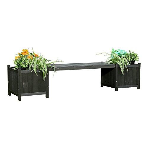 Melko 2in1 Gartenbank mit 2 Blumenkästen Blumenkübel Pflanzkübel, 180 x 40 x 40 cm, schwarz