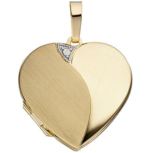 Medaillon Anhänger Amulett Herz zum Öffnen 585 Gold Gelbgold für Damen