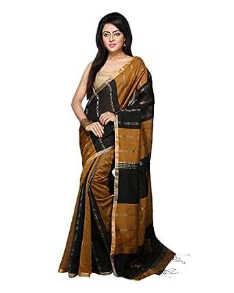Bengal Handloom Saree Women's Silk Cotton With Blouse Piece (0_Black)